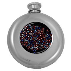 America Usa Map Stars Vector  Round Hip Flask (5 oz)