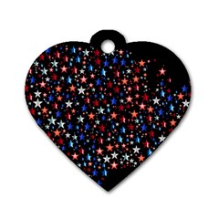 America Usa Map Stars Vector  Dog Tag Heart (One Side)