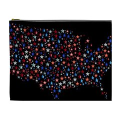 America Usa Map Stars Vector  Cosmetic Bag (xl)