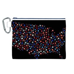 America Usa Map Stars Vector  Canvas Cosmetic Bag (L)