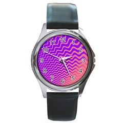 Pink And Purple Round Metal Watch