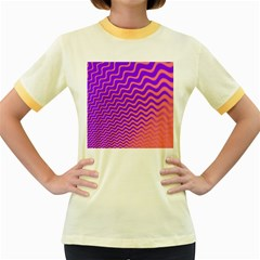 Pink And Purple Women s Fitted Ringer T Shirts