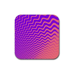 Pink And Purple Rubber Coaster (Square)