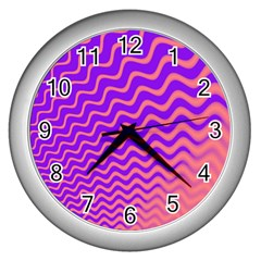 Pink And Purple Wall Clocks (Silver)