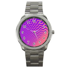 Pink And Purple Sport Metal Watch