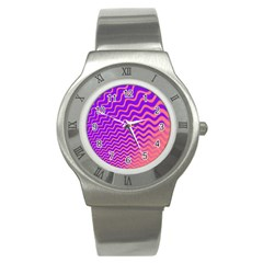 Pink And Purple Stainless Steel Watch
