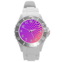 Pink And Purple Round Plastic Sport Watch (L)