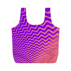 Pink And Purple Full Print Recycle Bags (M)