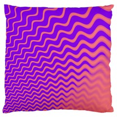 Pink And Purple Large Flano Cushion Case (one Side)