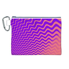 Pink And Purple Canvas Cosmetic Bag (L)