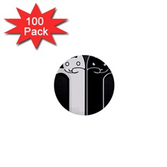 Texture Cats Black White 1  Mini Buttons (100 Pack)