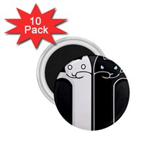 Texture Cats Black White 1 75  Magnets (10 Pack)