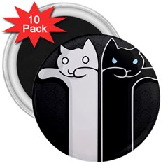 Texture Cats Black White 3  Magnets (10 Pack)