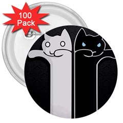 Texture Cats Black White 3  Buttons (100 Pack)