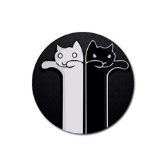 Texture Cats Black White Rubber Round Coaster (4 Pack)