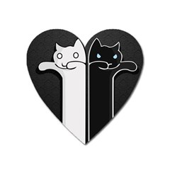 Texture Cats Black White Heart Magnet