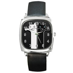 Texture Cats Black White Square Metal Watch