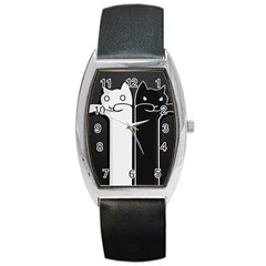 Texture Cats Black White Barrel Style Metal Watch