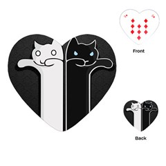Texture Cats Black White Playing Cards (Heart)