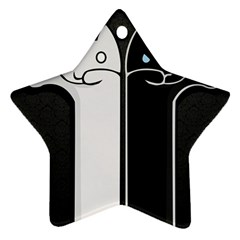 Texture Cats Black White Star Ornament (Two Sides)