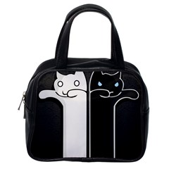 Texture Cats Black White Classic Handbags (One Side)