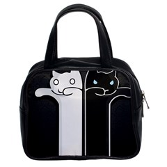 Texture Cats Black White Classic Handbags (2 Sides)