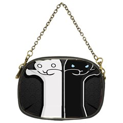 Texture Cats Black White Chain Purses (one Side)