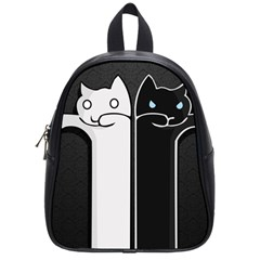Texture Cats Black White School Bags (Small)