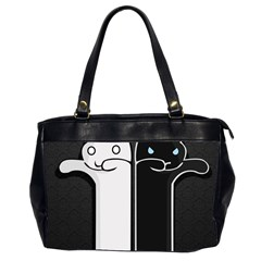 Texture Cats Black White Office Handbags (2 Sides)