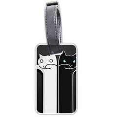 Texture Cats Black White Luggage Tags (one Side)