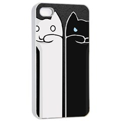 Texture Cats Black White Apple iPhone 4/4s Seamless Case (White)