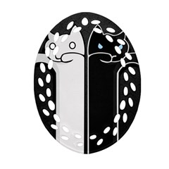 Texture Cats Black White Ornament (Oval Filigree)