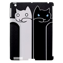 Texture Cats Black White Apple iPad 3/4 Hardshell Case (Compatible with Smart Cover)