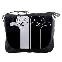 Texture Cats Black White Messenger Bags