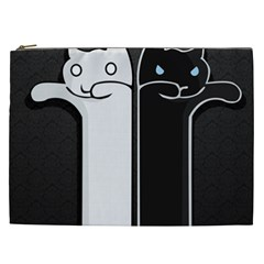 Texture Cats Black White Cosmetic Bag (XXL)