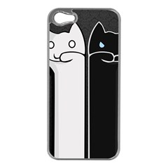 Texture Cats Black White Apple Iphone 5 Case (silver)