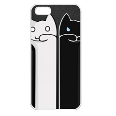 Texture Cats Black White Apple iPhone 5 Seamless Case (White)