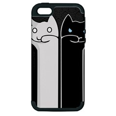 Texture Cats Black White Apple iPhone 5 Hardshell Case (PC+Silicone)