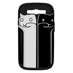 Texture Cats Black White Samsung Galaxy S III Hardshell Case (PC+Silicone)