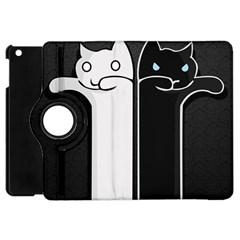 Texture Cats Black White Apple Ipad Mini Flip 360 Case