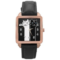 Texture Cats Black White Rose Gold Leather Watch