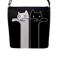 Texture Cats Black White Flap Messenger Bag (L)