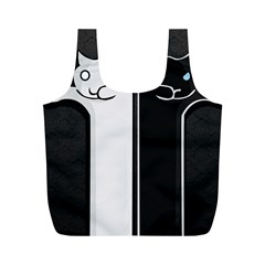 Texture Cats Black White Full Print Recycle Bags (M)