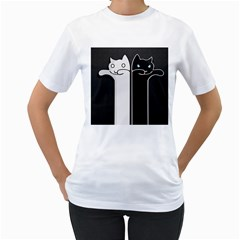 Texture Cats Black White Women s T Shirt (white)