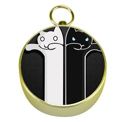 Texture Cats Black White Gold Compasses