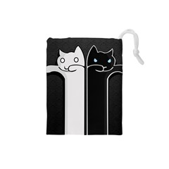 Texture Cats Black White Drawstring Pouches (Small)