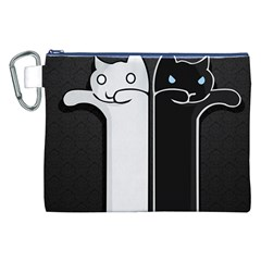 Texture Cats Black White Canvas Cosmetic Bag (XXL)
