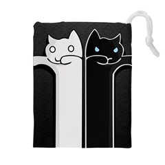 Texture Cats Black White Drawstring Pouches (Extra Large)