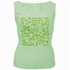 Leaves Pattern Seamless Women s Green Tank Top