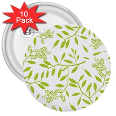 Leaves Pattern Seamless 3  Buttons (10 pack)